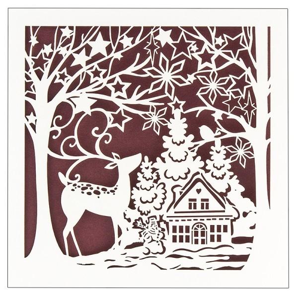 """Laser-Grußkarte """"Weihnachten 8"""", 14,8x14,8cm, mit Umschlag & weinrotem Einleger"""
