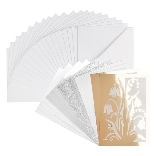Laser-Grußkarten Mini, Schneeglöckchen, 9,5cm x 7cm, versch. Farben, mit Umschlägen, 20 Stüc