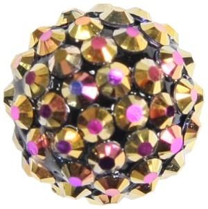 Kristall-Perlen, Ø18 mm, 5 Stück, pinkgold-irisierend