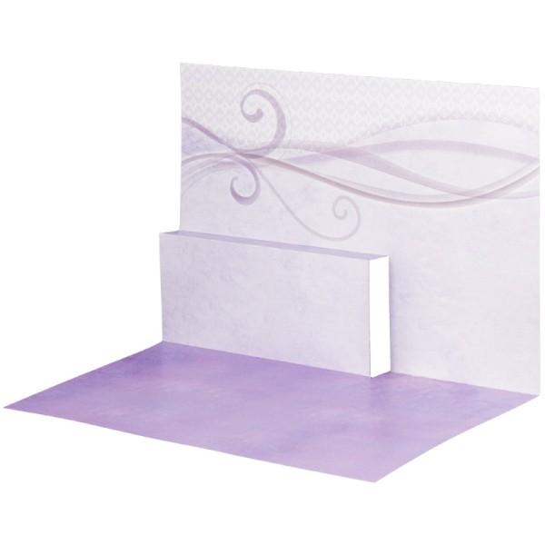 Pop-Up-Grußkarten-Einleger, gefaltet 11 x 15,5 cm, Schwung, violett