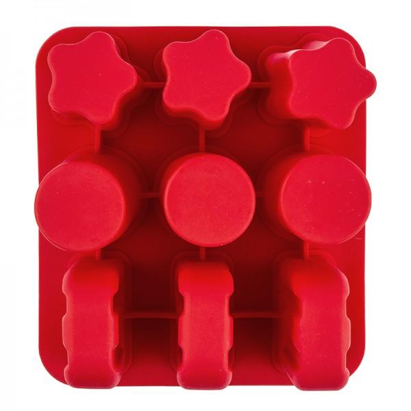 Silikonform, Eis, 16cm x 17,5cm, 10cm hoch, für 9 Eis in 3 verschiedenen Formen
