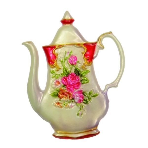 Wachsornament Kanne mit Blumenzierde, 8 x 6,5 cm, Design 4