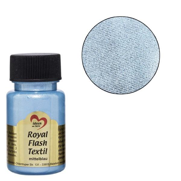 Royal Flash Textil, Glitzer-Metallic-Farbe, 50 ml, mittelblau