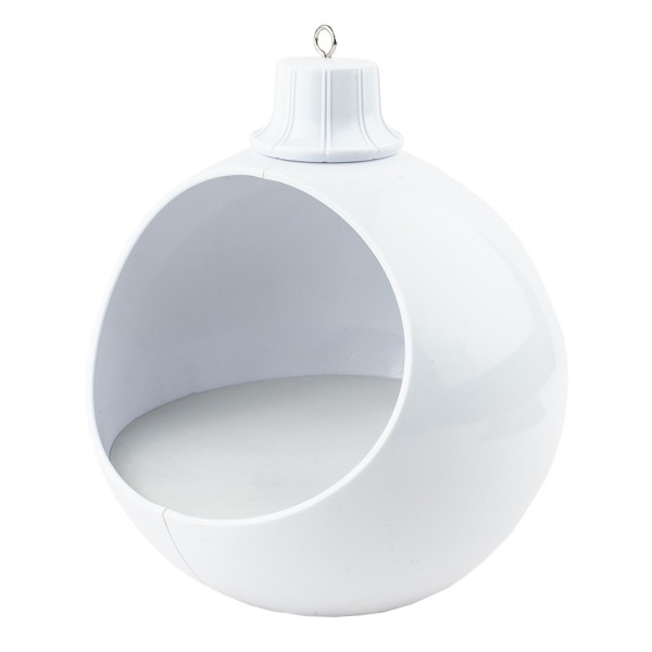 LED-Kugel mit verzierbarem Innenraum, 15,5cm x 15cm x 16,5cm, Ø13,5cm, 1 LED in Warmweiß, weiß