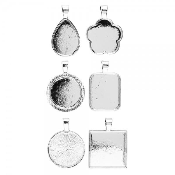Schmuckanhänger, Rohlinge, Design 1, versch. Designs & Größen, silber, 6 Stück