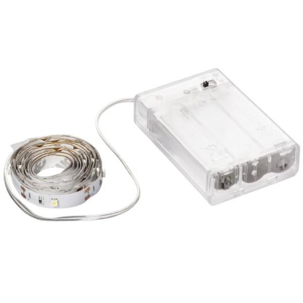 LED-Lichterband, selbstklebend, warmweiß, inkl. Timer, 30er, 1 m, 20 cm Kabelzulauf