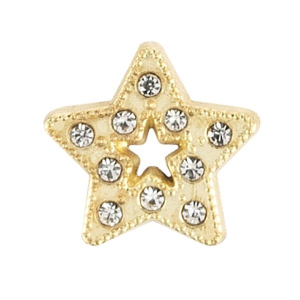 Hot-Fix Glas-Glamour, Stern 2, Ø 1,5 cm, hellgold, mit Glas-Steinen, 20 Stück