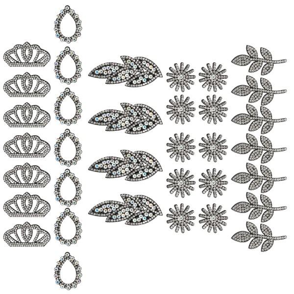Filzornamente mit Strass-Steinen, 5 versch. Designs & Größen, schwarzer Filz, 35 Stück