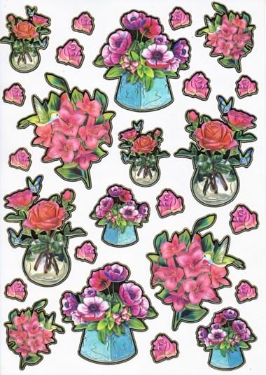 Ultra Gloss Sticker Bogen, Rose & Lilie