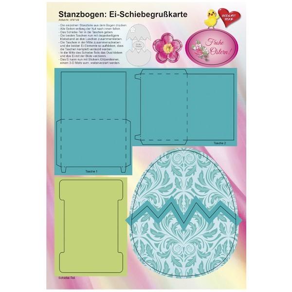 Stanzbogen, Ei-Schiebegrußkarte, DIN A4, Design 5