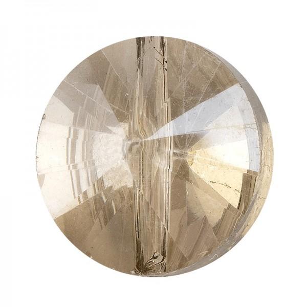 Perlen, rund, flach, Ø 1cm, facettiert, transparent, taupe, 40 Stück