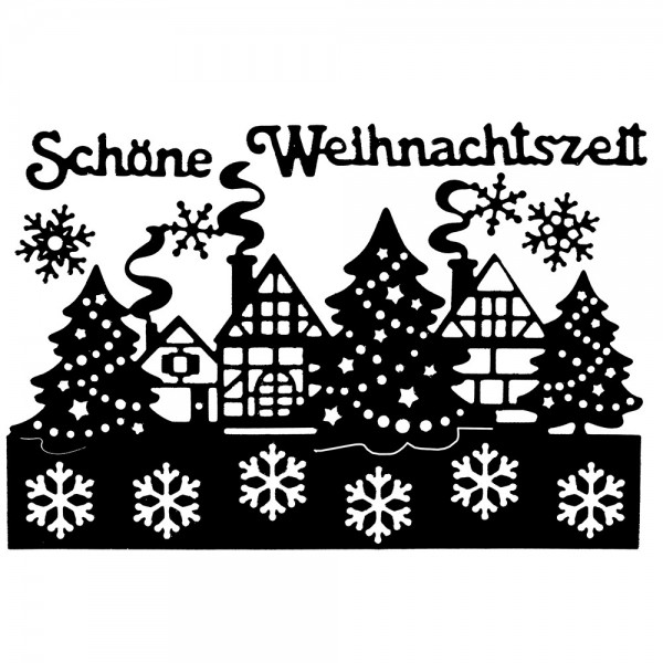 Stanzschablonen, Winterdorf, 5 Stück