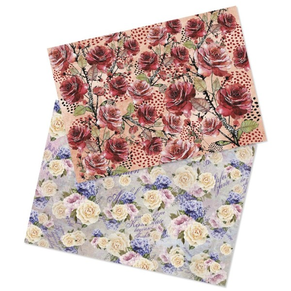 Reispapiere, Blüten 1, DIN A4, 2 Designs