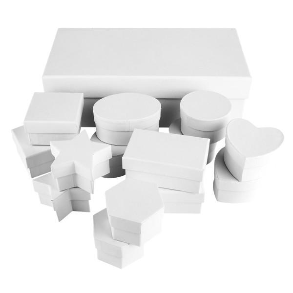Geschenkboxen, verschiedene Formen und Größen, weiß, 15 Stück