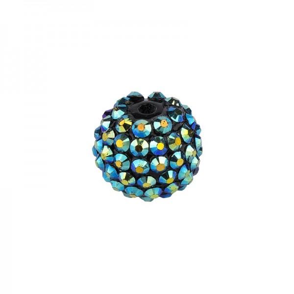 Kristall-Perlen, Ø10 mm, 10 Stück, dunkelblau-irisierend