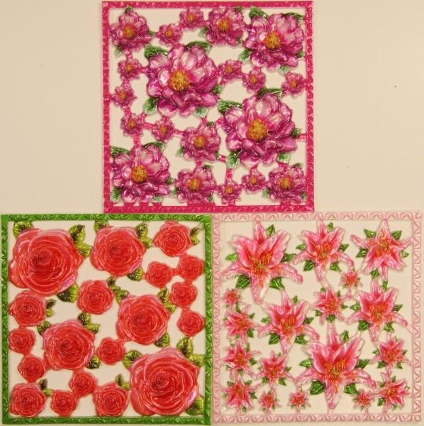 Wachsornament-Platten Blüten, 10 x 10 cm, farbig, 3er Set