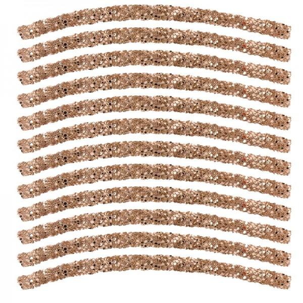 Glitzer-Tubes, flexibel, 10cm lang, Ø 0,5cm, taupe, 12 Stück
