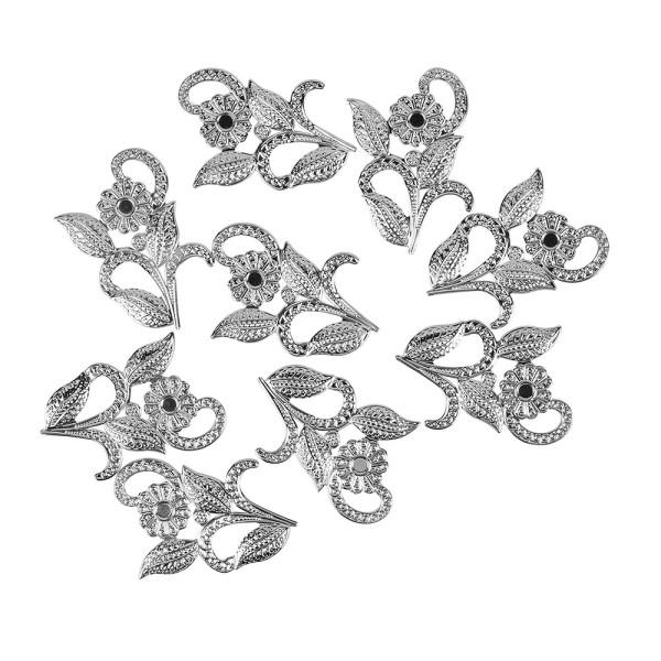 Metall-Ornamente, Design 6, 5cm x 4cm, silber, 9 Stück
