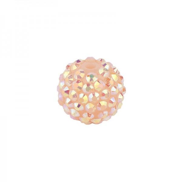 Kristall-Perlen, Ø14 mm, 10 Stück, lachs-irisierend