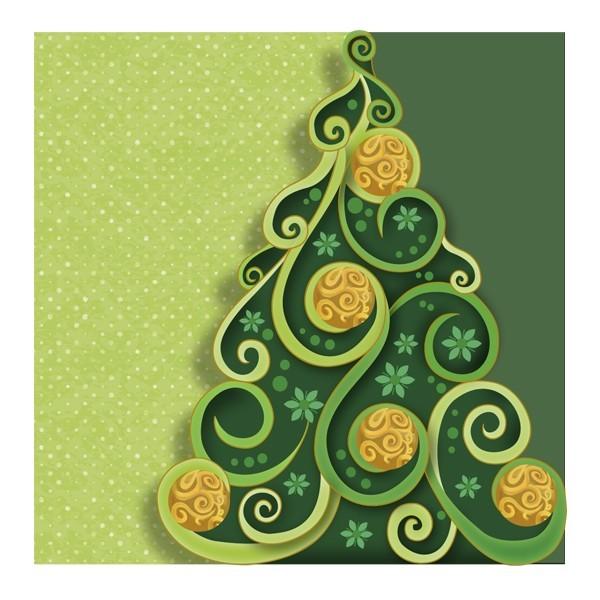 """5er Doppel-Grußkarten-Set """"Weihnachtsbaum"""", gestanzt, 16x16cm"""