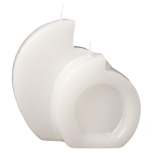 Duett-Kerze, ausgehöhlt, weiß, ca. 100 x 105 mm, 4 Stück, OUTLET-SET