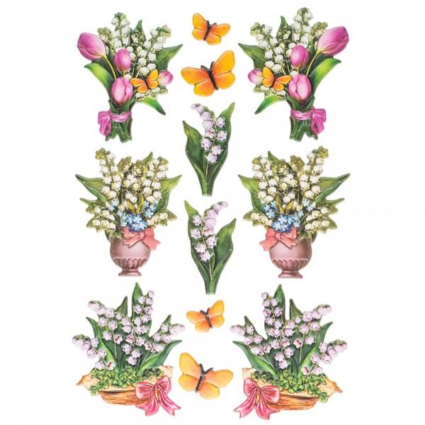 3-D Relief-Sticker, Zauberhafte Maiglöckchen 3, 21cm x 30cm, verschiedene Größen, selbstklebend