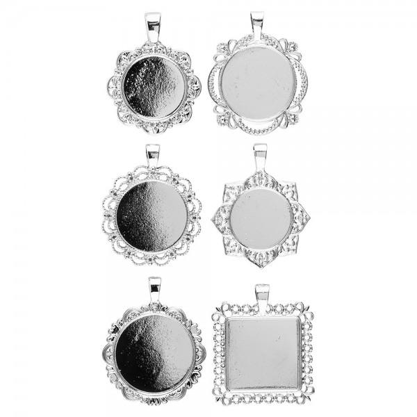 Schmuckanhänger, Rohlinge, Design 4, versch. Designs & Größen, silber, 6 Stück