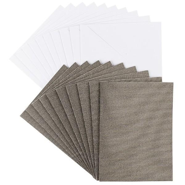 Grußkarten Glitzer-Leinen, B6, taupe, inkl. Umschläge, 10 Stück