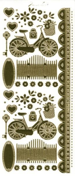 """Sticker, """"Marie Eve Bikes"""", Fahrrad, Spiegelfolie, gold"""