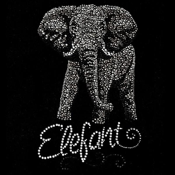 Bügelstrass-Design, DIN A4, mehrfarbig, Elefant
