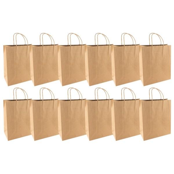 Kraftpapier-Taschen, 25,4cm x 30,5cm x 12,7cm, 170g/m², 12 Stück