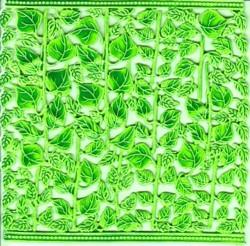 Wachsornament-Platte Sonnenblumenstiele, 16 x 16 cm, grün