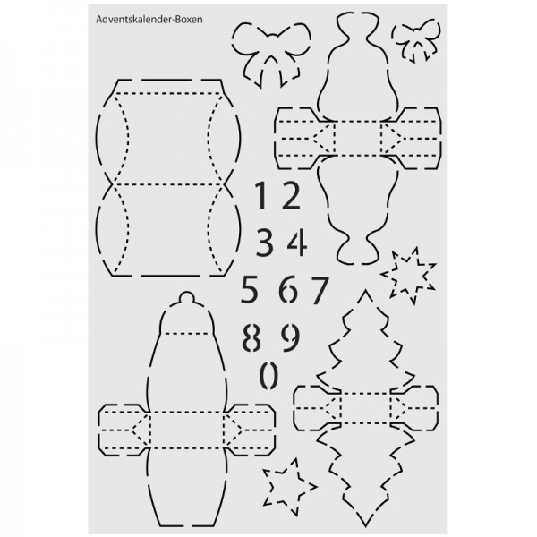 "Design-Schablone Nr. 11 ""Adventskalender-Boxen"", DIN A4"