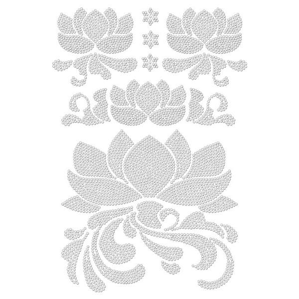 Bügelstrass-Design, DIN A4, klar, Lotusblumen