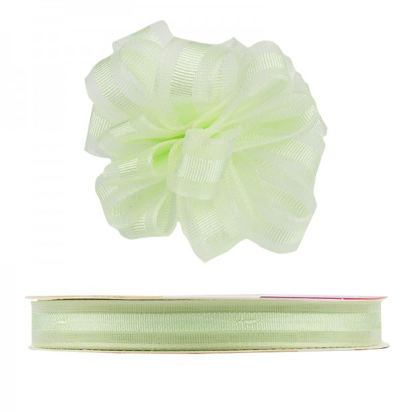 Ziehrüschen-Band, Organza, 1cm breit, 10m lang, mint/hellgrün