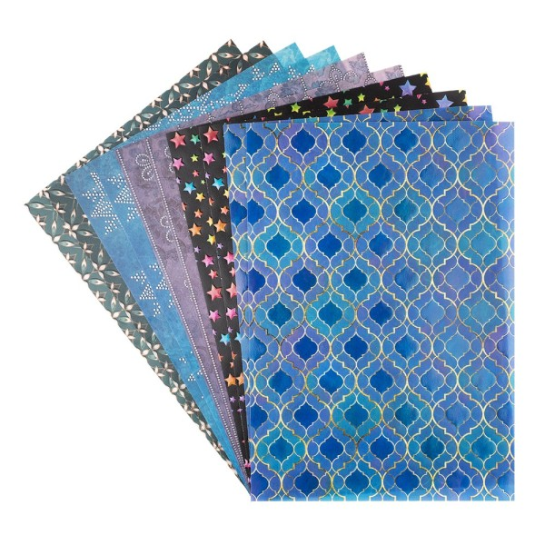 Motiv-Transparentpapiere Deluxe, Ornamente, DIN A4, 150g/m², verschiedene Designs, geprägt, 10 Bogen
