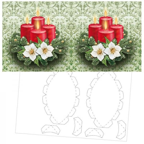 Prickel-Karte, Weihnachtsgesteck, inkl. Böden & Ecken, 16cm x 16cm