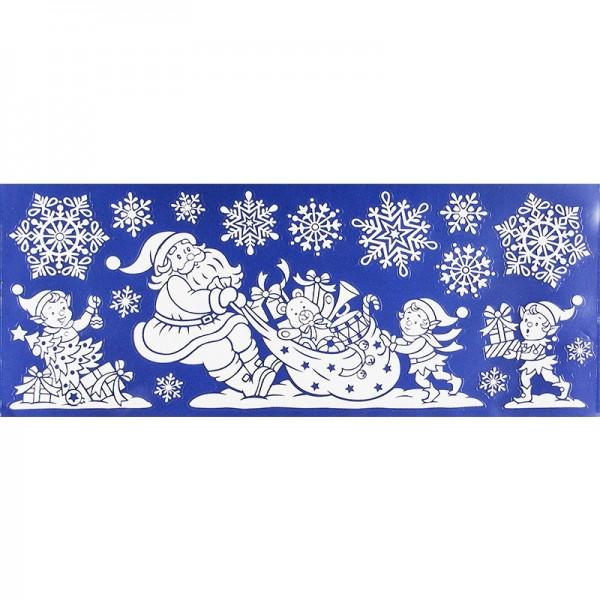 Glimmer-Relief-Sticker XXL, Weihnachtsmann 1, 20cm x 50cm
