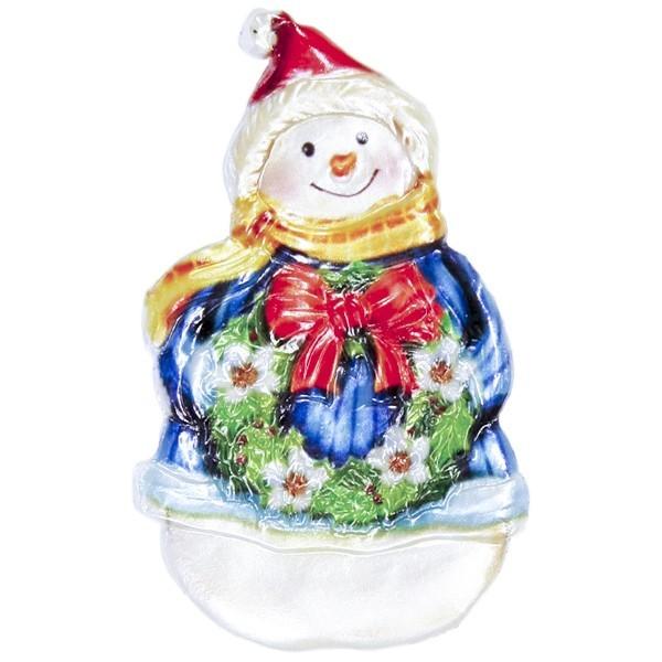 Wachsornament Schneemann mit Weihnachtskranz