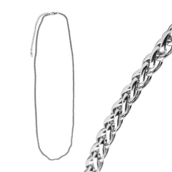 Glieder-Halsketten aus Edelstahl, 60cm lang, verlängerbar bis 70cm, Stärke: 3mm, silber, 3 Stück