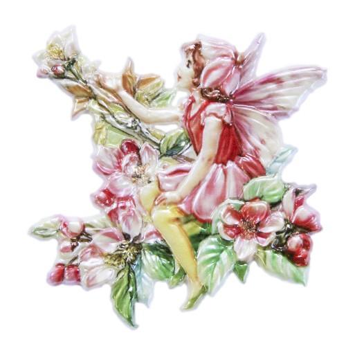 Wachsornament Elfe 4, farbig, geprägt, 7 x 7 cm