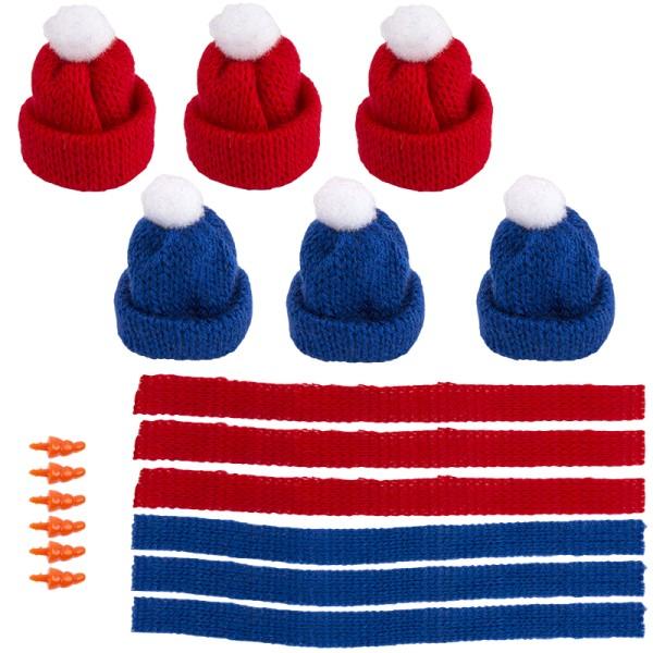 Winter-Outfit 1, Mützen, Schals & Nasen, 18-teilig, für Ø 6cm, blau/rot
