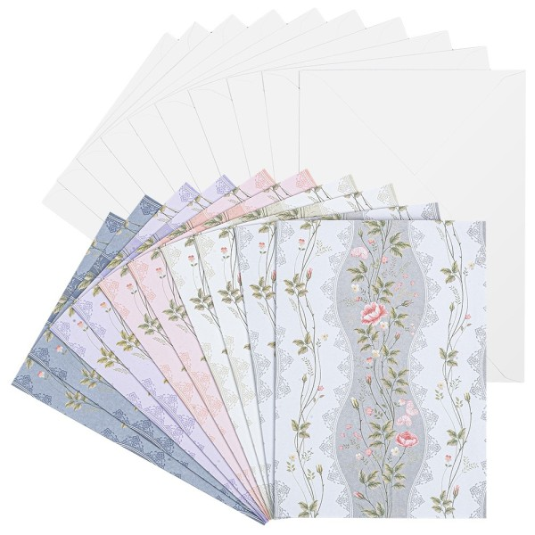 Motiv-Grußkarten, Blumenranken, B6, 230 g/m², 5 versch. Farben, inkl. Umschläge, 10 Stück