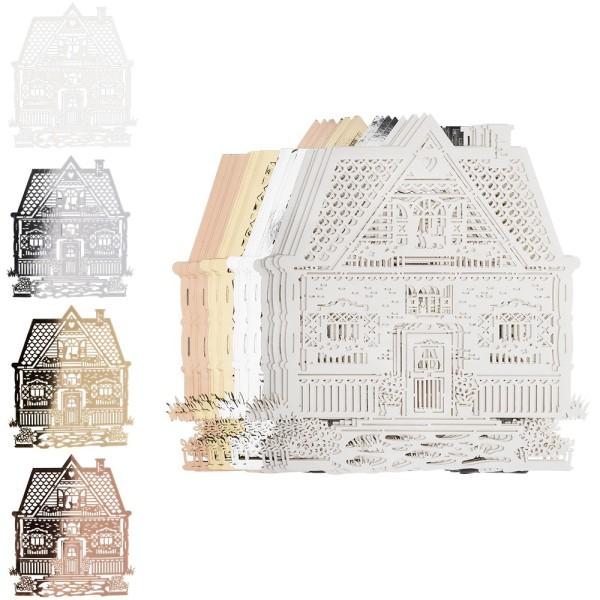 Laser-Kartenaufleger, Haus, 12,4cm x 13,9cm, 4 Farbtöne, 20 Stück