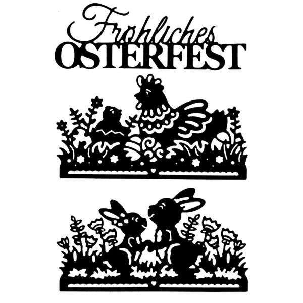Stanzschablonen, Fröhliches Osterfest, 3 Stück