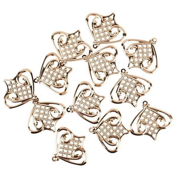 Metall-Ornamente, Design 5, 5,5cm x 5cm, roségold, 12 Stück