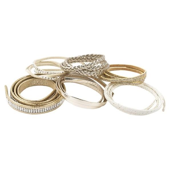 Schmuck Lederbänder, 50cm lang, verschiedene Designs, gold, 6 Stück