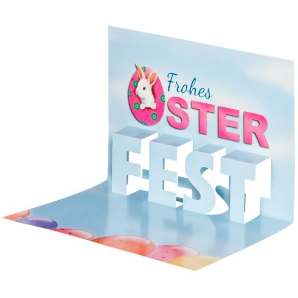 "Pop-Up-Grußkarten-Einleger, 11 x 16 cm, ""Frohes Oster-Fest"", pink/blau/Ostereier"