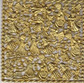 Wachsornament-Platte Engel mit Kleidern, 16 x 16 cm, gold mit Glimmer
