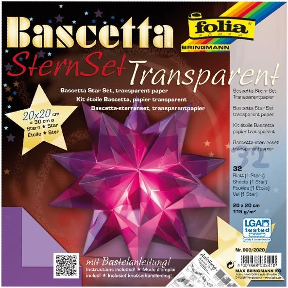 Bascetta Stern Set, transparent, 15x15cm, 32 Blatt, violett